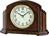 Seiko Dark Wooden Mantle/Mantel Quartz/Battery Clock, Cream Dial with Arabic Numbers & Alarm. Height 127mm QXE043B