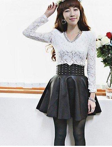GANGYUNJINGZHI ZY Frauen Damen PU-Leder-Rock der hohen Taille sexy Röcke , black-one-size , black-one-size