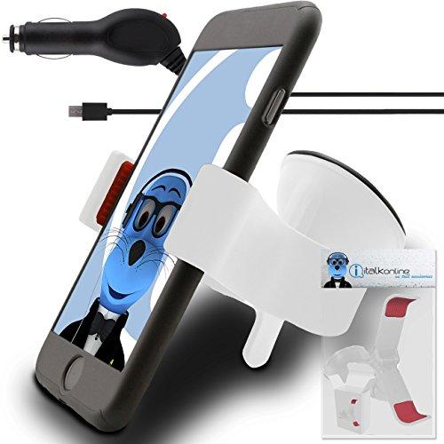 iTALKonline BIANCO SUPER CLAW COMPATTO UNIVERSALE 360 gradi che girano la cassa Compatibile schermo Vento Dashboard Supporto di aspirazione Supporto con caricabatteria da auto per HTC Panache