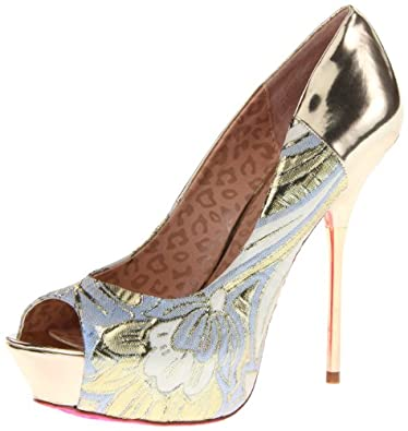 Betsey Johnson Women's Trainnn Platform Pump,Metallic,7 M US