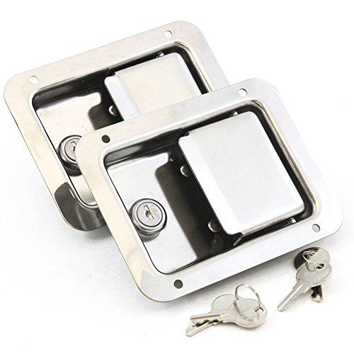 2 Stainless Door Lock Trailer Toolbox RV Handle Latch Large 5.5