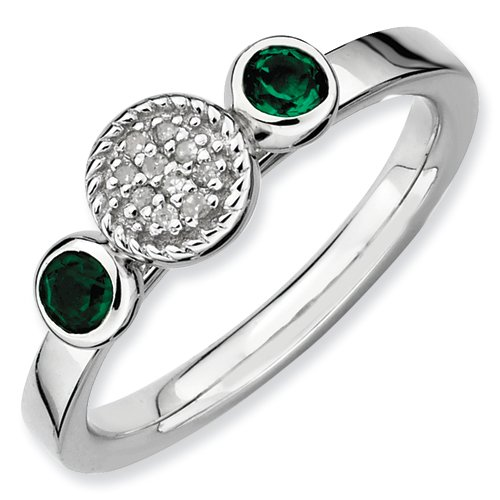 Sterling Silver Stackable Expressions Db Round Cr. Emerald & Dia. Ring (Size 8)