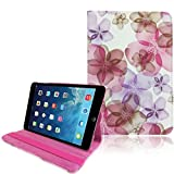 Purple Hot Pink Apple Ipad Mini 1 / 2 (With Retina Display) PU Synthetic Leather Floral Printed Smart Flip Adjustable Stand 360 Rotating Function Case Cover - Part of JJOnline Store Mobile Phone Accessories