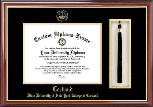 Suny College At Cortland Red Dragons - Embossed Seal - Tassel Box - Mahogany - Diploma Frame