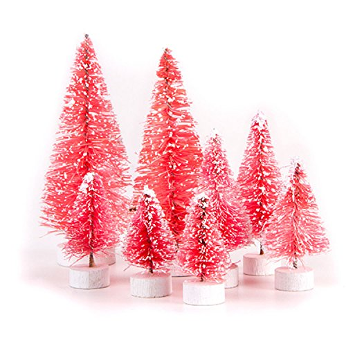 Darice Bottle Brush Christmas Sisal Trees Variety Pack - Pink with Snow 8pc Set (Snow Brush Pink compare prices)