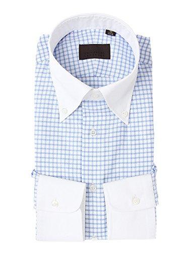 (ユニバーサルランゲージ) クレリック&ボタンダウンカラードレスシャツ チェック ホワイト×ブルー