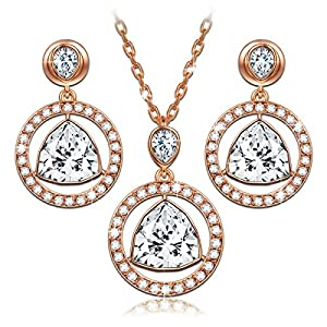 LadyColour SWAROVSKI ELEMENTS Crystal Jewelry Set Pendant Necklace And Earrings,Best Gifts For Her