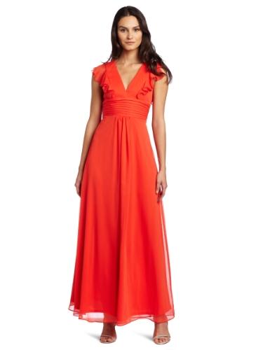 Jessica Simpson Women's Cowl Skirt Deep V-Neck Gown