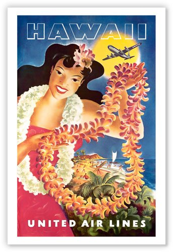 United Airlines Hawaii Travel Poster - Vintage Hawaiian Art Poster Print, 12