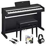 Yamaha YDP142B Arius Black Walnut Digital Piano with Bench, ATH-M30x Headphones, and Beginner Piano Books