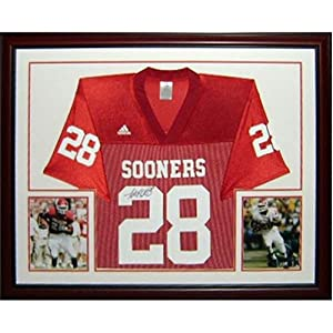 Adrian Peterson Autographed Oklahoma Sooners (Maroon #28) Deluxe Framed Jersey by PalmBeachAutographs.com