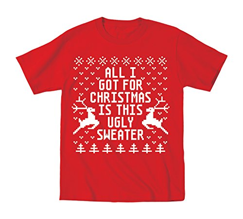 Ugly Sweater For Christmas Parties - Youth T-Shirt - Red - Large