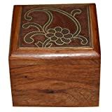 Handmade Jewellery Box Square Shape Wood Carving With Brass Inlay Design