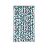 Beautiful Tribal Floral Paisley Pattern Custom Window Curtains/Patio Door Curtain/Panels/Treatment, 50 by 84-Inch (One Piece)