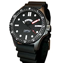 German Military Titanium Watch. GPW GMT. Red Minute Hand. Black NATO Rubber Strap. Sapphire Crystal. 200M W/R.