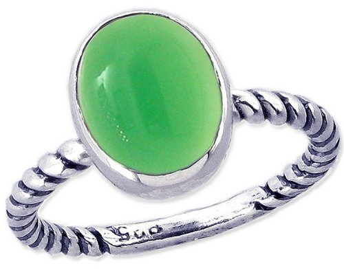 Twisted Sterling Silver Stackable Ring with Large Oval Cabochon Genuine Gemstone-Green Onyx-in full,half,quarter sizes from 3.5 to 12_12