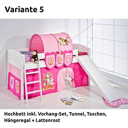 Hochbett Spielbett IDA Filly, mit Rutsche und Vorhang, weiß, Variante 5