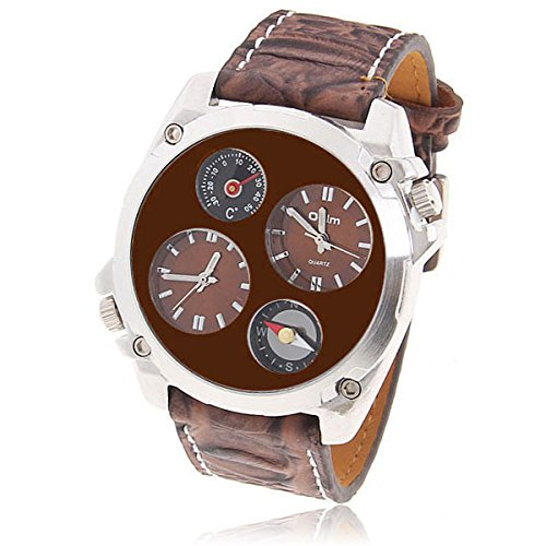 1139 Brown Stainless Steel Cluster Clock Dial Sport Style Classic Oversized Round Analog Field Watch