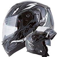 VIPER Modular Dual Visor Motorcycle / Snowmobile Helmet DOT Approved (IV2 Model #953) - Black (L) from Ivolution Sports, Inc