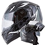 VIPER Modular Dual Visor Motorcycle / Snowmobile Helmet DOT Approved (IV2 Model #953) - Black (XL)