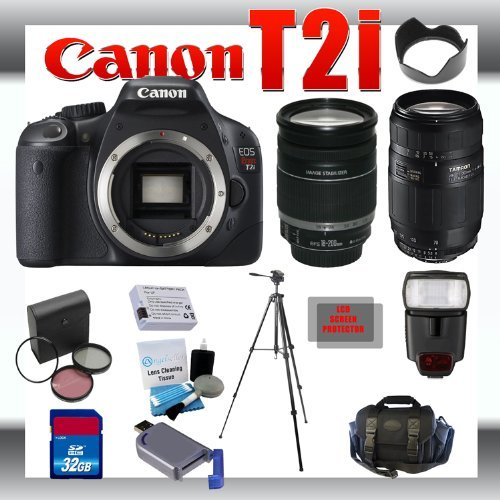 Canon EOS Rebel T2i 18 MP Digital SLR Camera with Canon 18-200mm and Tamron AF 75-300mm f/4.0-5.6 LD for Canon Digital SLR Cameras + 32GB Memory Card + Digital Flash + SD Memory Card Reader + Li-Ion Replacement Battery Pack + Deluxe Cleaning Kit + Carryin
