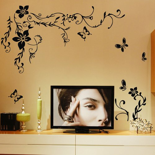 """23.6"""" X 59"""" Mural Decal Black Butterfly Flower Wall Art Decor Removable Stylish Sticker Mural Diy Vinyl Decor For Room Home. Home Decoration Animal Tv Background Dining Room front-790230"""