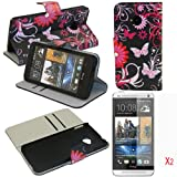 (TRAIT)3in1 Black Back Butterfly PU Leather Wallet Cases Protective Skin Protector Covers for HTC One M7 Flip Case Folio Cover Stand Holder with Card Port+2*Screen Protector