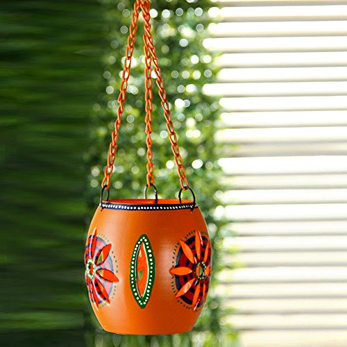 ExclusiveLane Handpainted Metal Hanging Tea Light Orange (Non Electrical) - For Gift / Home Décor