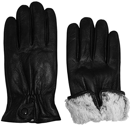 N'Ice Caps Womens Genuine Leather Gloves With Plush Lining And Snap On Cuff (Medium, Black) Genuine Leather Gauntlet Gloves