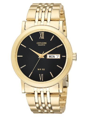 Citizen Quartz Day Date Gold Tone Black Dial Men's Watch - BK4052-59E