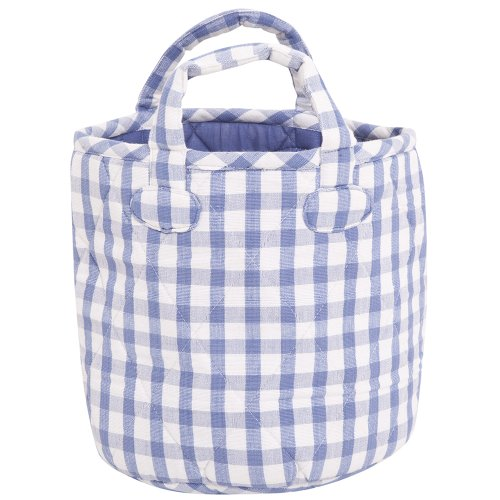 JoJo Maman Bebe Gingham Shelf Storage Bucket, Blue