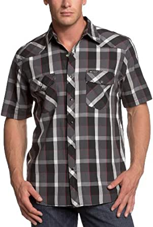 Dickies men 39 s short sleeve western plaid shirt black for Dickies short sleeve plaid shirt