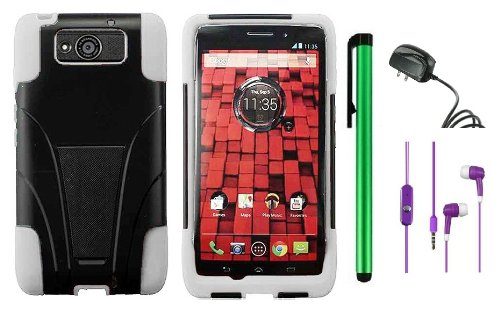 $$  MOTOROLA DROID MAXX XT1080M / Droid Ultra XT-1080 (Verizon) Premium T-Stand Protector Hard Cover Case + Travel (Wall) Charger + 3.5MM Stereo Earphones + 1 of New Metal Stylus Touch Screen Pen (White / Black)
