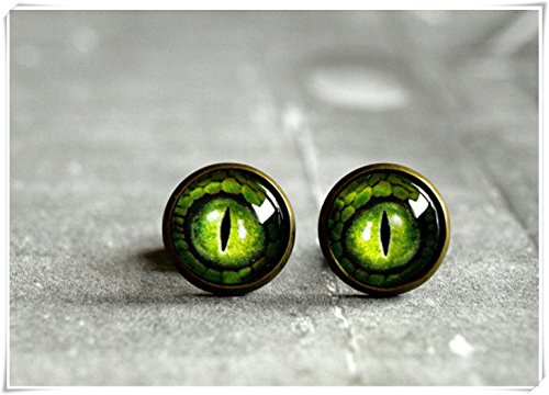 Green Dragon Eye Stud Earrings, Antique Brass Stud Ear Post dragon eye jewelry,Glass dome stud stud earrings (Dragon Eye Ring compare prices)