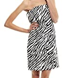 Terry Women Bath Wrap Towel Cotton Cover Up Made in USA Velcro Closure- OS Size Zebra Pattern
