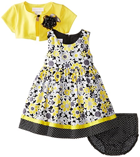 Bonnie Baby Baby-Girls Infant Floral Empire With Cardigan, Yellow, 18 Months front-978959