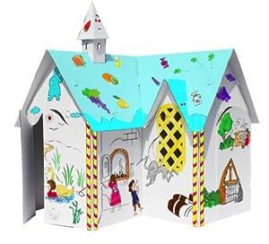 Maison ecole en carton a peindre jeux et jouets for Maison en carton a colorier