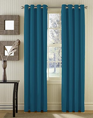 Blocking Dawn Essential Thermal Insulated Solid Blackout Grommet Window Curtain Panels – Pair – 84″ inch Long (Teal)