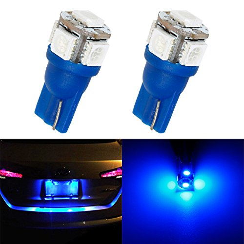 Partsam 2x Super Blue License Plate Lights Bulbs T10 194 Miniature Wedge 5SMD 5050 LED (Light Honda Accord 94 Coupe compare prices)