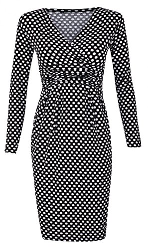 Glamour Empire. Women's Polka Dot Pencil Dress. Long Sleeves. Empire Waist. 144 (Black with Dots, UK 16)