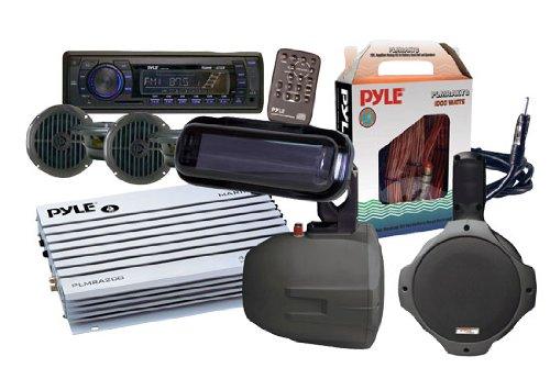 Pyle Ktmrak14Bk 6 Speakers Marine Am/Fm Sd/Usb/Radio W/Cover/Wiring/Amplifier & Antenna Black