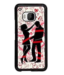 Fuson Pattern Love Couple Back Case Cover for HTC ONE M9 - D3709