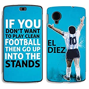 Bluegape LG Naxus 5 D821 Diego Maradona Football Player Phone Skin Cover, Blue