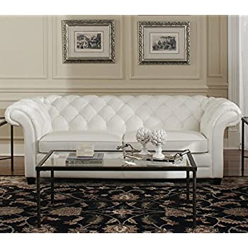 "94"" L Tufted Sofa Top grain white leather classic chesterfield spectacular"