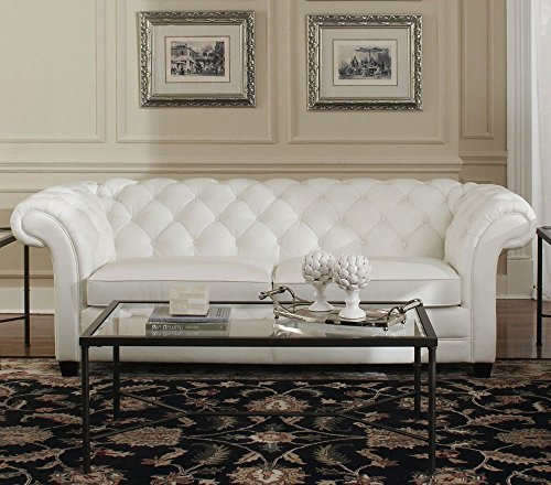 "94"" L Tufted Sofa Top grain white leather classic chesterfield spectacular 0"
