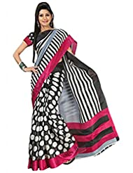 Vamika Bhagalpuri Silk Saree (Black & White)
