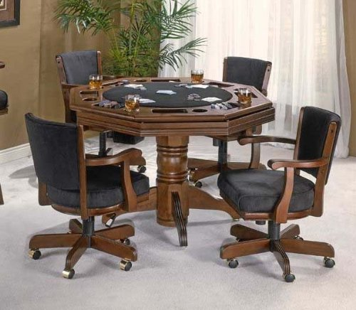 Buy Low Price Hillsdale 5pc Game Dining Table and Arm Chairs Set in Cherry Finish (HS-62543GTBC)