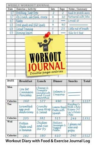 Workout Journal: Workout Diary with Food & Exercise Journal Log: Perfect Workout Charts & Weight Loss Journal To Kick-Start Your Fitness Routine (Workout Journals) (Volume 1)
