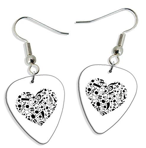 Music Love Heart 2 X Chitarra Pick Earrings orecchini (GD)
