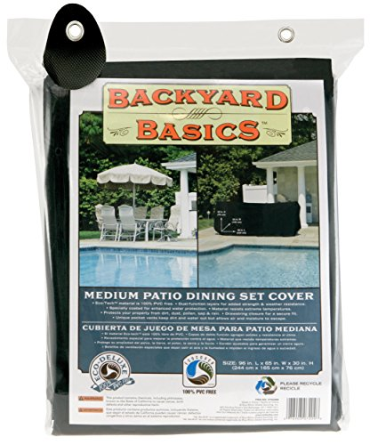 Backyard Basics 96-Inch Medium Patio Dining Set Cover( Lx65In Wx30In H 244Cmx165Cmx76Cm) Black